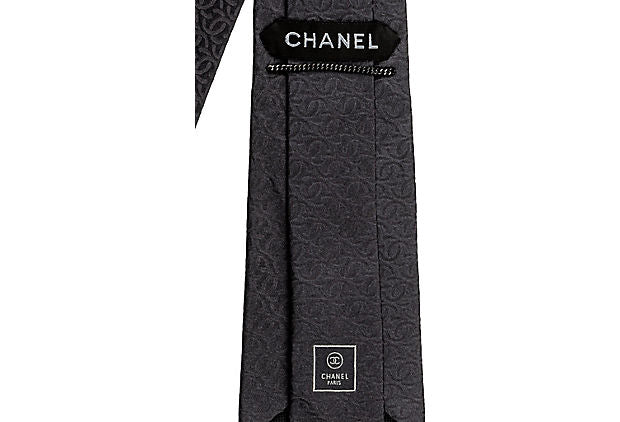 Chanel New Dark Grey Textured Silk Tie