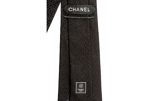 Chanel New Black Textured Logo Silk Tie