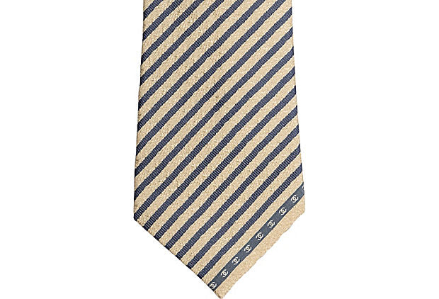 Chanel Cream & Blue Silk Tie