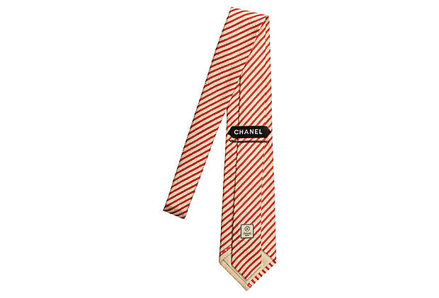 Chanel New Silk Red & Cream Tie