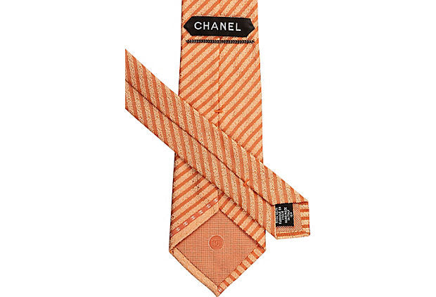 Chanel New Light Orange Silk Tie