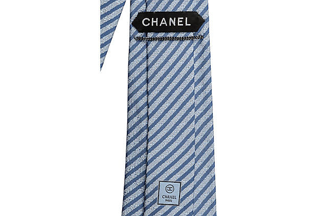 Chanel New Silk Light Blue Striped Tie