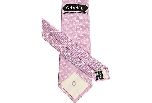 Chanel New Silk Pink Logo Tie