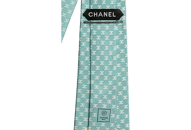 Chanel New Silk Aqua Logo Tie