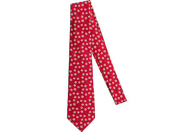 Chanel Silk Red Flower Tie