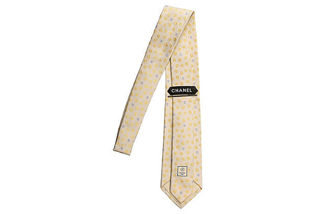 Chanel New Silk Cream Flower Tie