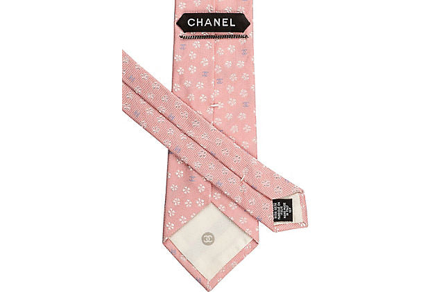 Chanel New Silk Pink Flower Tie