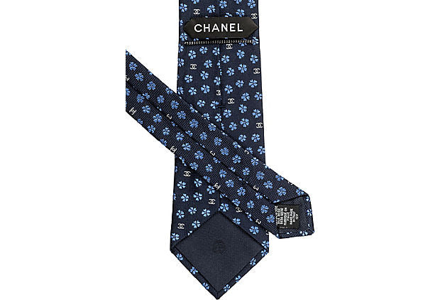 Chanel New Silk Navy Flower Tie