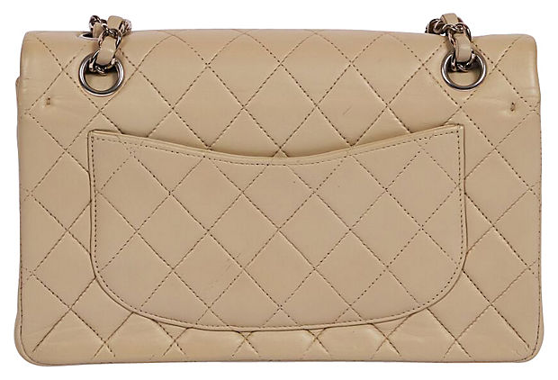 "Chanel Grey/cream 9"" Double Flap Silver"