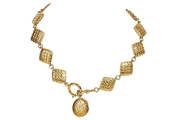 Chanel 70s Gold Waffle Diamond Chocker