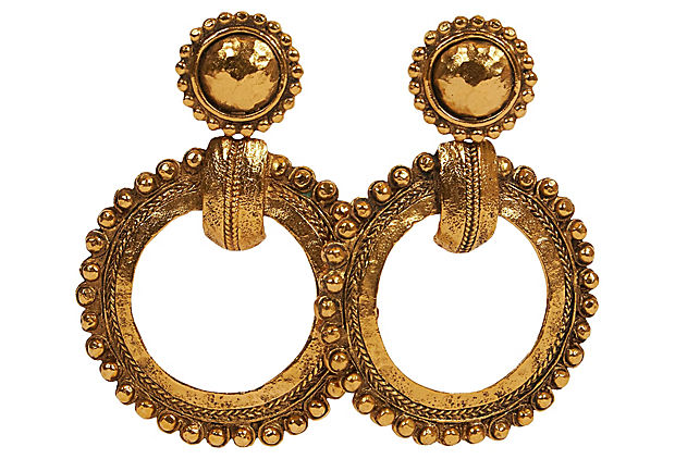 Chanel Oversized 80 Antique Gold Earring