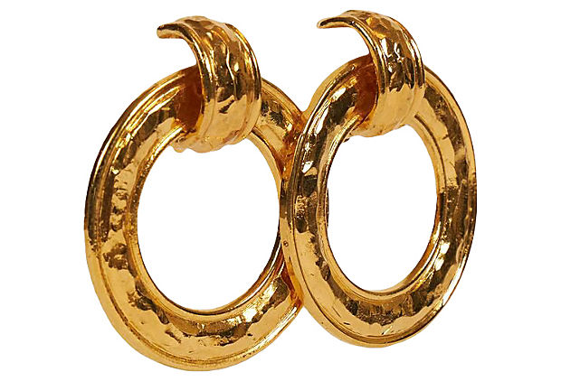 Chanel 80 Hammared Gold Knocker Earrings
