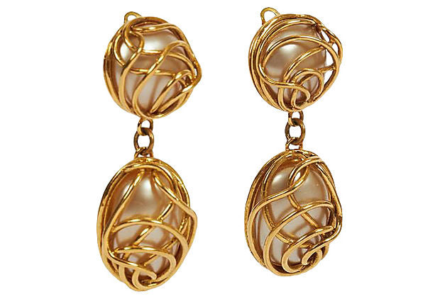 Chanel 80s Pearl Cage Clip Earrings