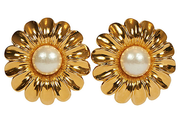 Chanel Oversized Daisy 70s Earrings