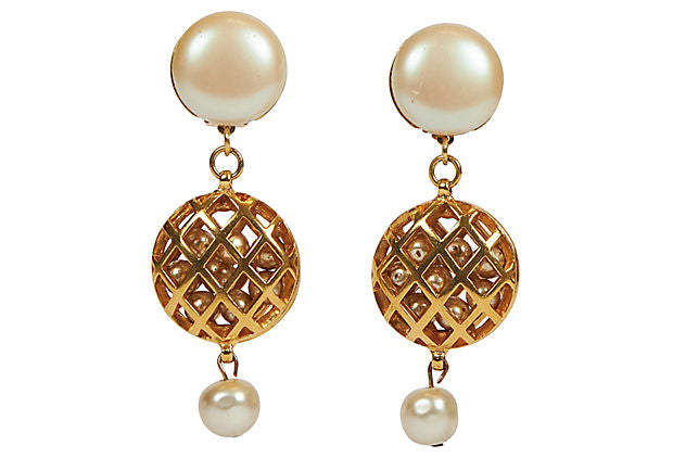 Chanel 70s Pearl Cage Clip on Earrings