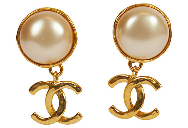 Chanel Classy Pearl Logo Drop Earrings