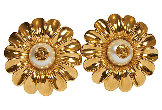 Chanel Oversized Daisy Clip Earrings