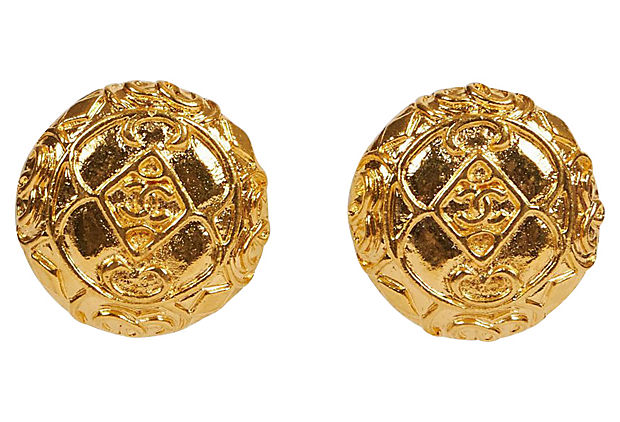 Chanel Gold Embossed Logo 70s Earrings