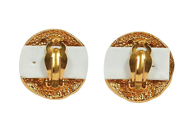 Chanel Round Gold Zigzag Clip Earrings