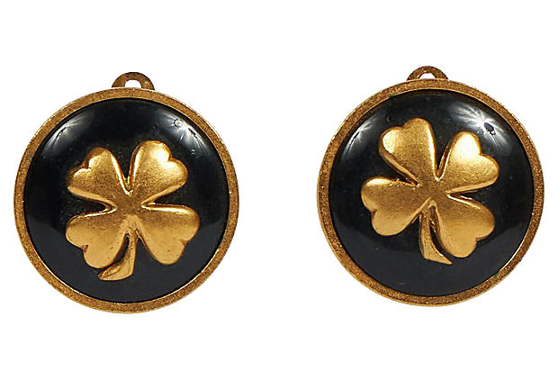 Chanel Black Enamel Clover Earrings