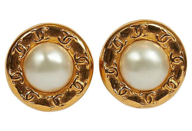 Chanel Faux Pearl Logo Clip Earrings