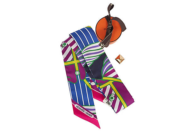 Hermes Away We Go Silk Twilly Scarf