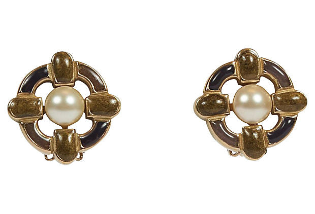 Chanel Enamel Maltese Cross Earrings