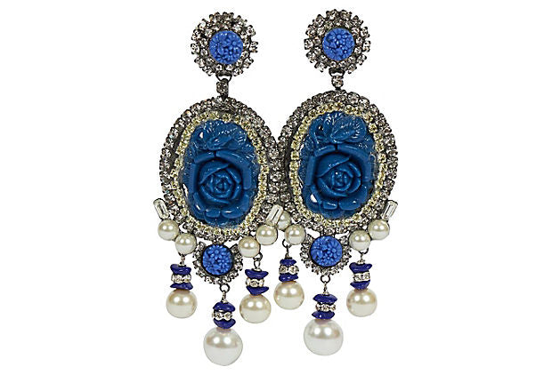 Vrba Blue Rosettes Chandelier Earrings