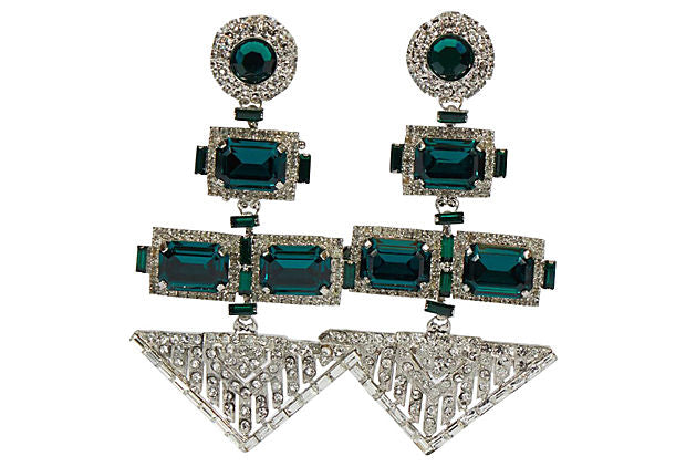 Vrba Authentic Deco Emerald Earrings