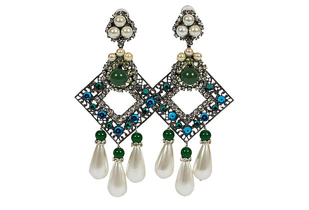 Vrba Emerald & Pearl Chandelier Earrings
