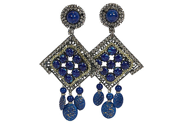 Vrba One Of A Kind Faux Lapis Earrings