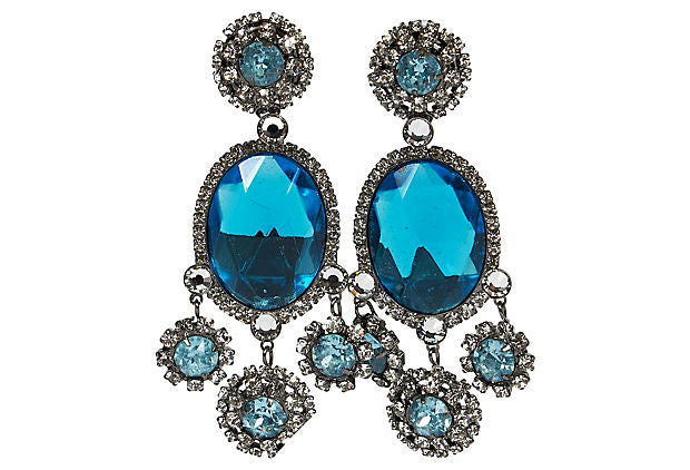 Vrba Bright Blue Chandelier Earrings