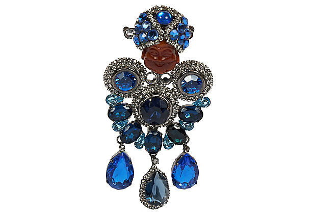 Vrba One Of A Kind Blue Maharaja Brooch