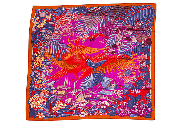 "Hermes Flamingo Party Cashmere 54"" Shawl"