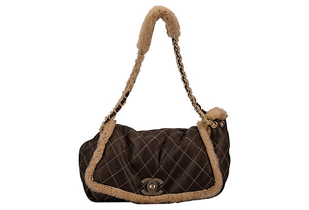 Chanel Brown Shearling Single Flap Bag