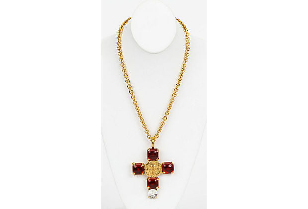 Chanel Rare Gripoix Cross Necklace