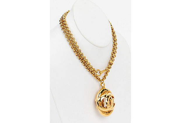 Chanel Oval 3D Logo Pendant Necklace