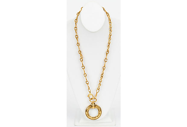 Chanel 80s Hammered Magnifier Necklace