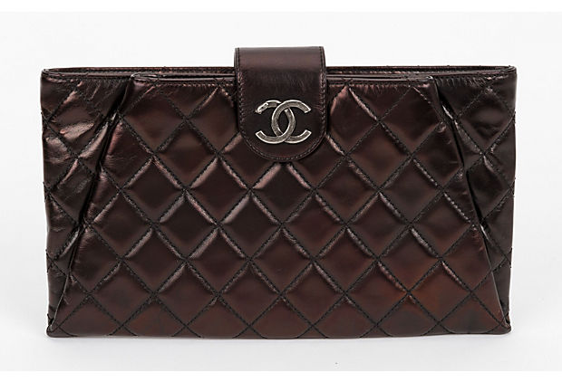 Chanel Metallic Dark Zipped Clutch