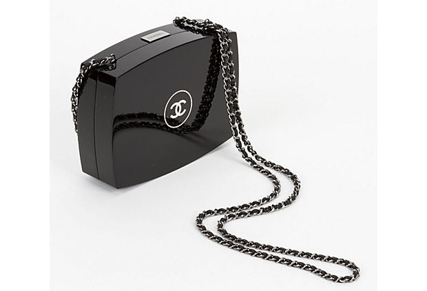 Chanel Black Lucite Minaudiere Clutch