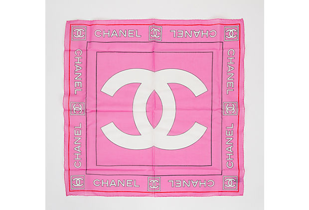 Chanel Pink Cotton Logo Small Scarf