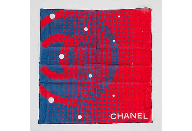 Chanel Red & Blue Cotton Small Scarf