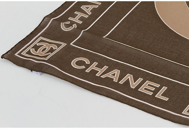 Chanel Brown Cotton Logo Small Scarf