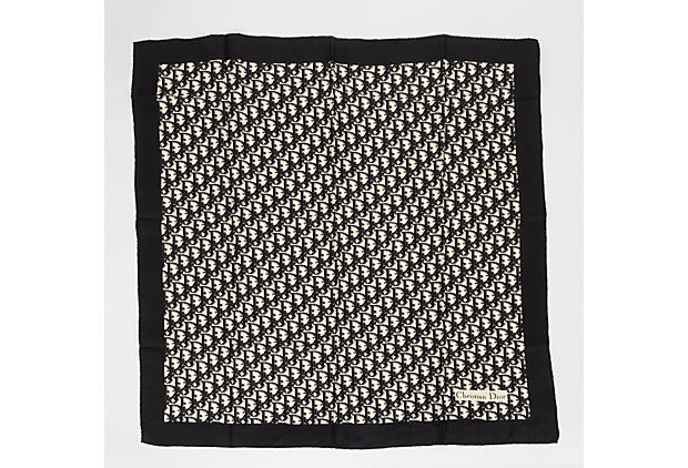 Dior Monogram Black Silk Twill Scarf 90