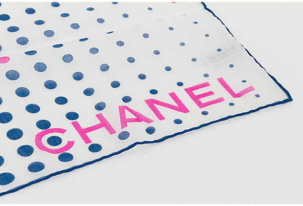 Chanel Blue Cotton Logo Small Scarf