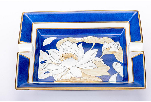 Hermès Porcelain Blue Flower  Ashtray