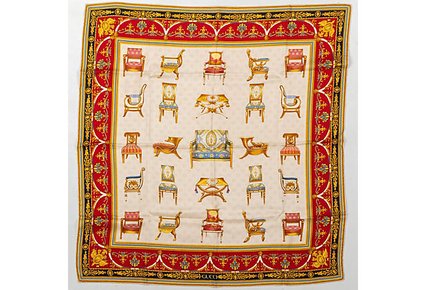 Gucci Red Gold Chairs Scarf