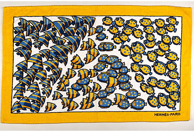 90's Hermes Yellow Fish Beach Towel NEW