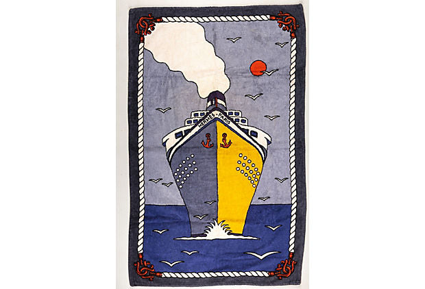 90s Hermes Vintage Ship Beach Towel NEW