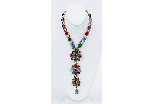Chanel 70s Gripoix Multicolor Necklace